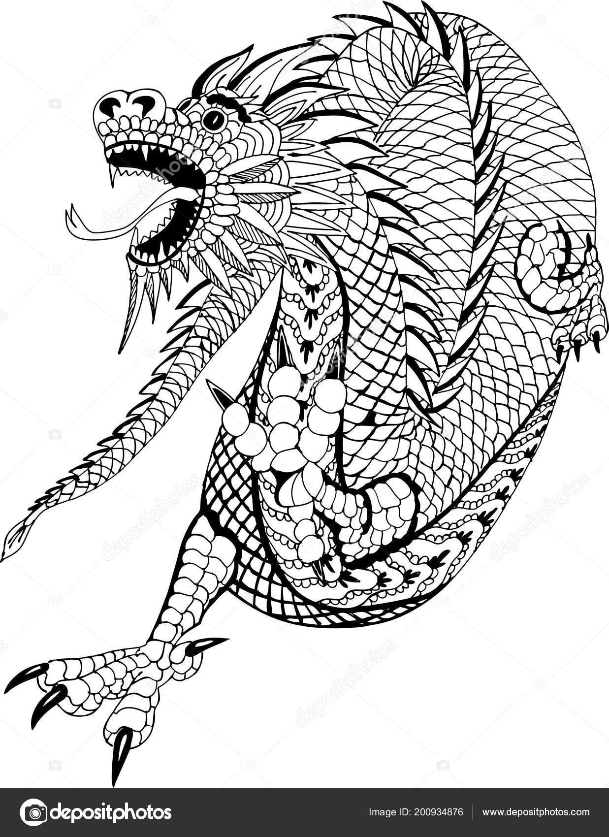 Chinesische Drachen Handgezeichnete Muster Zum Ausmalen