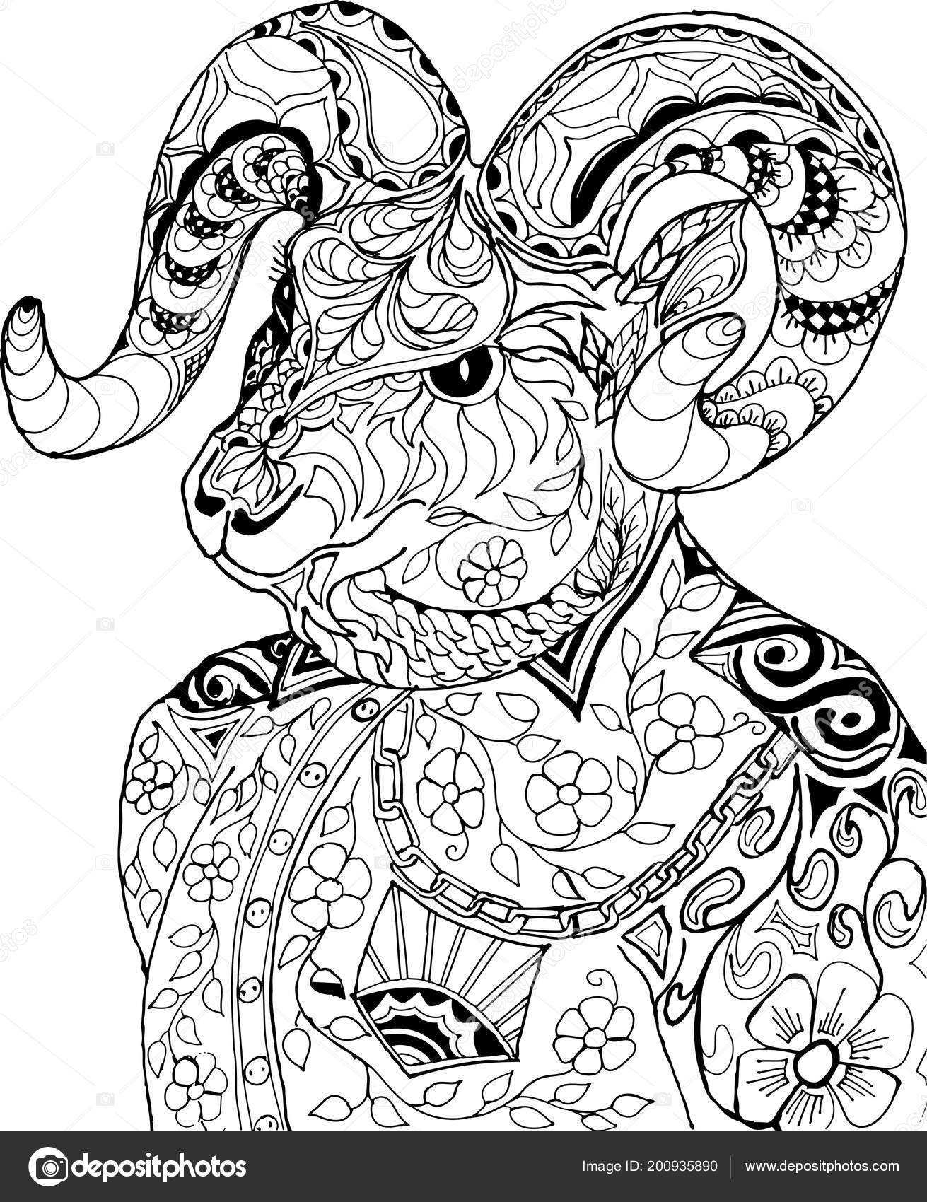 8b1c1cbfb Zentangle Stylized Cartoon Goat Coloring Antistress Coloring Goat — Stock  Vector