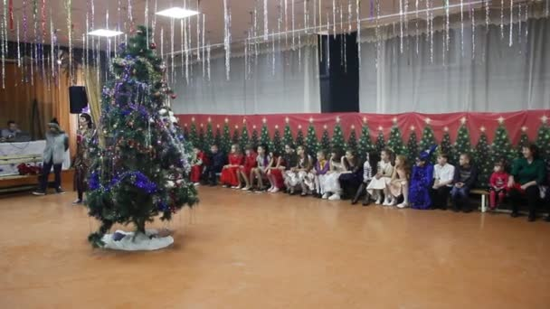 Primorsko Akhtarsk Russia December 2017 Children Great Hall Celebrate New — Stock Video