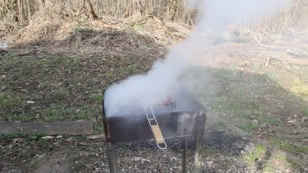 Vaření grilování na grilu. Maso a uzeniny jsou smažené na uhlí