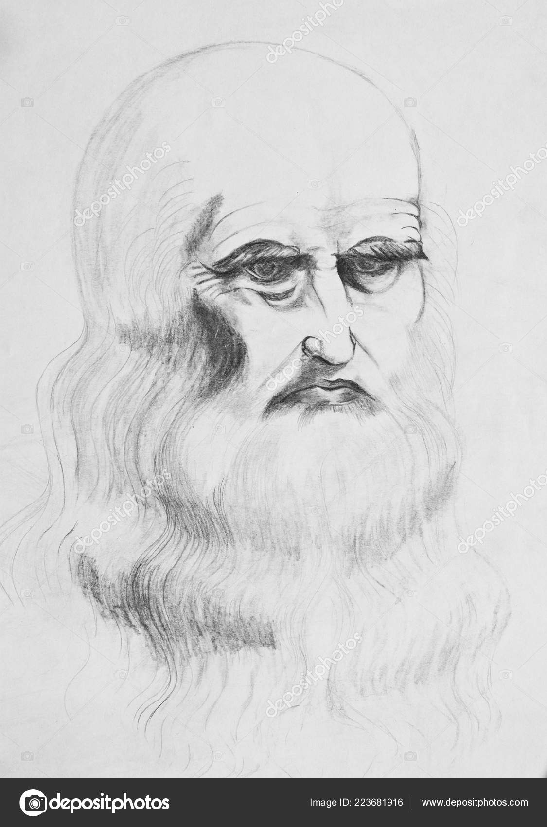 Portrait bearded old man pencil drawing paper stock photo