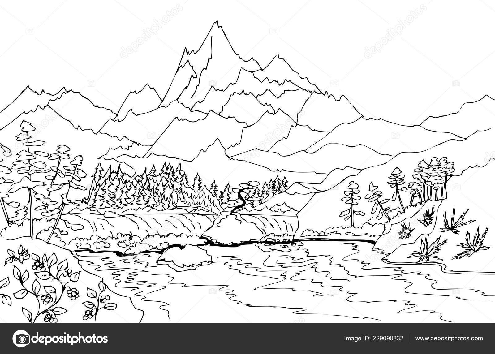 Paisaje Alta Montaña Cascada Ilustraciones Dibujado Mano Para