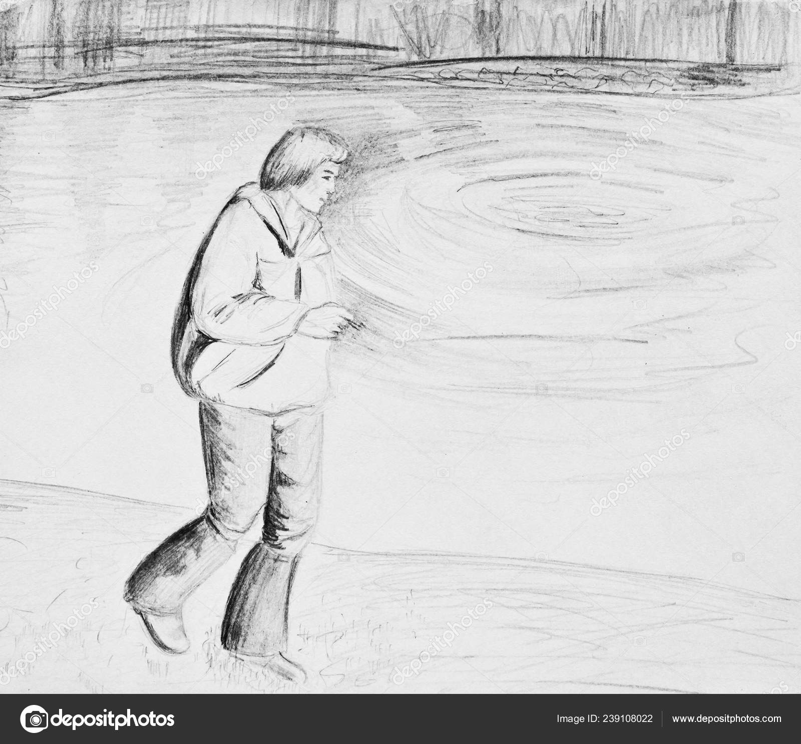 A man walks along the river a man holding a cigarette pencil drawing on paper stock image