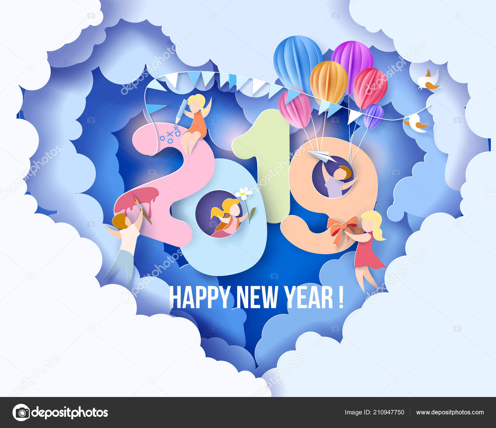 2019 happy new year design card with kids stock vector