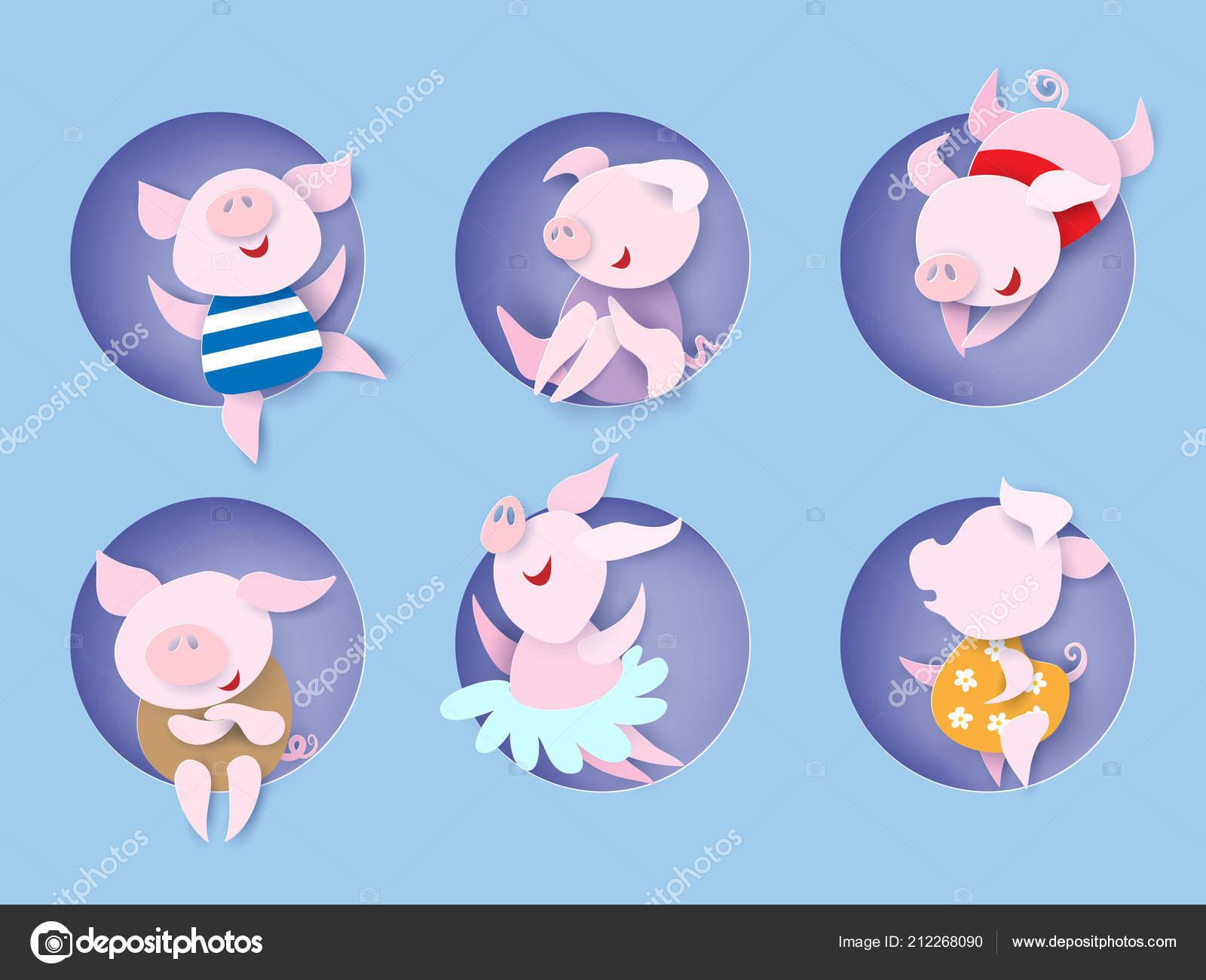 Joyeux Nouvel An Chinois 2019 Symbole Cochon Dans Le Trou Image