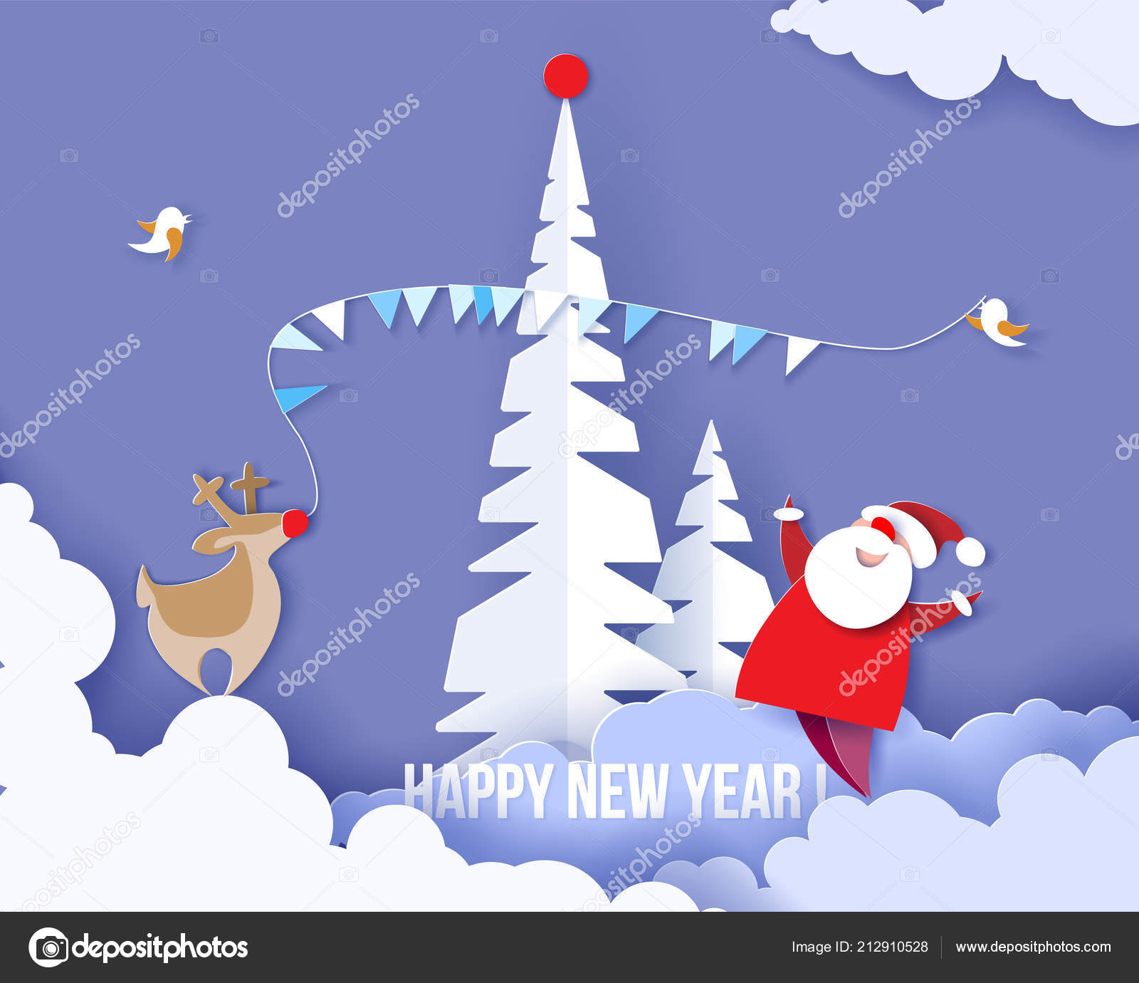 Merry Christmas Card Color Paper Cut Design Stock Vector Valenty