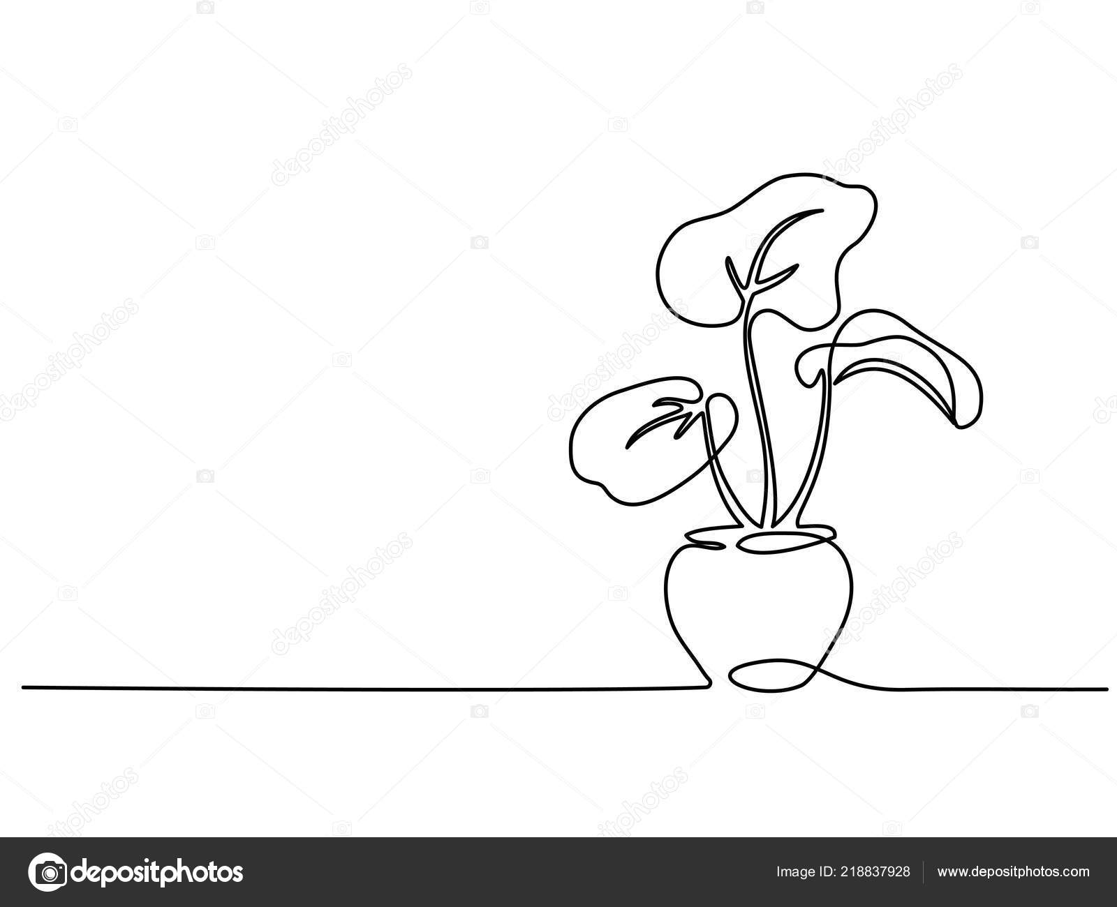 Pokojova Rostlina V Hrnci Kontinualni Jeden Radek Vykresu Stock