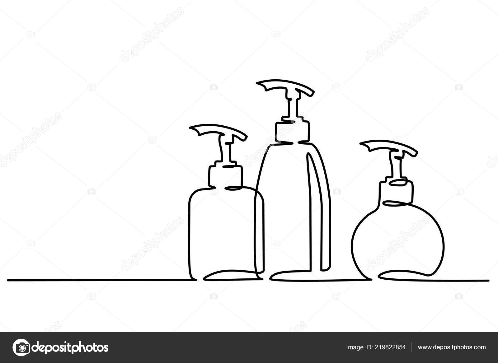 Cosmetic Shampoo Bottles Continuous One Line Draw Stock Vector