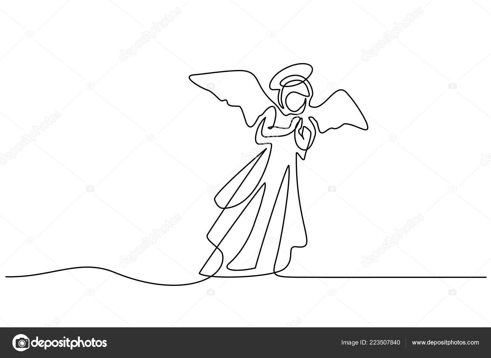 Bible Joyeux Noël Ange Femme Un Dessin Au Trait Image
