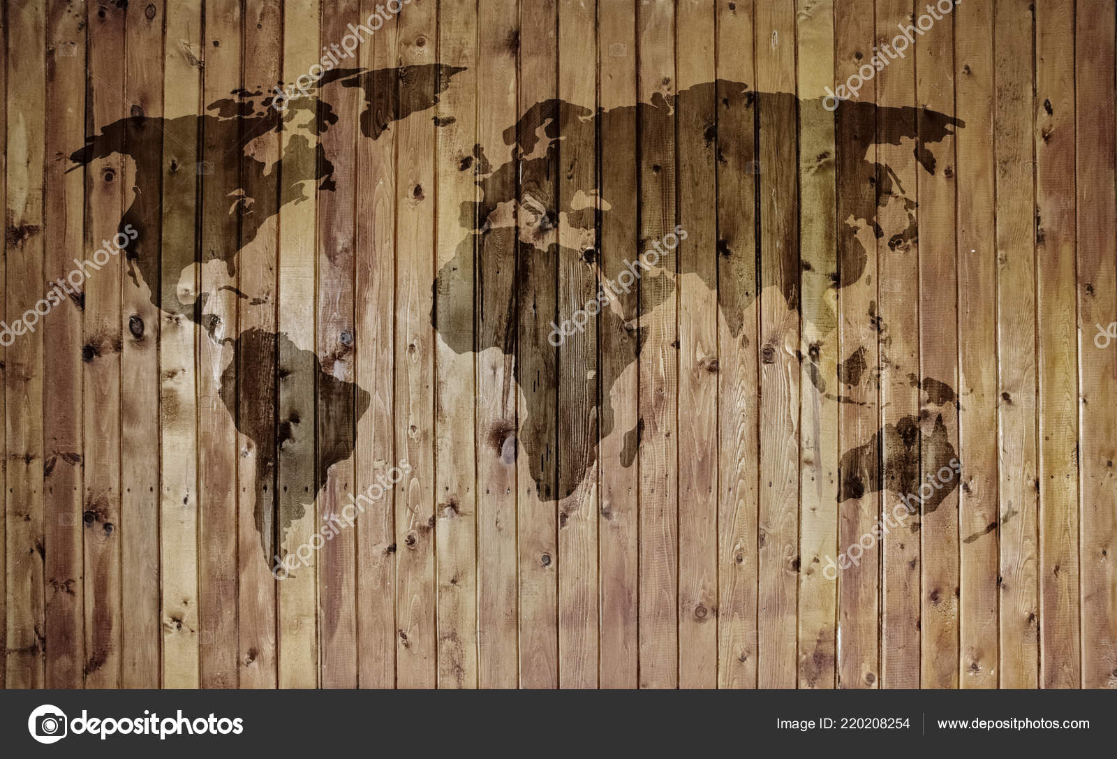 World Map Old Wooden Wall — Stock Photo © avlntn #220208254