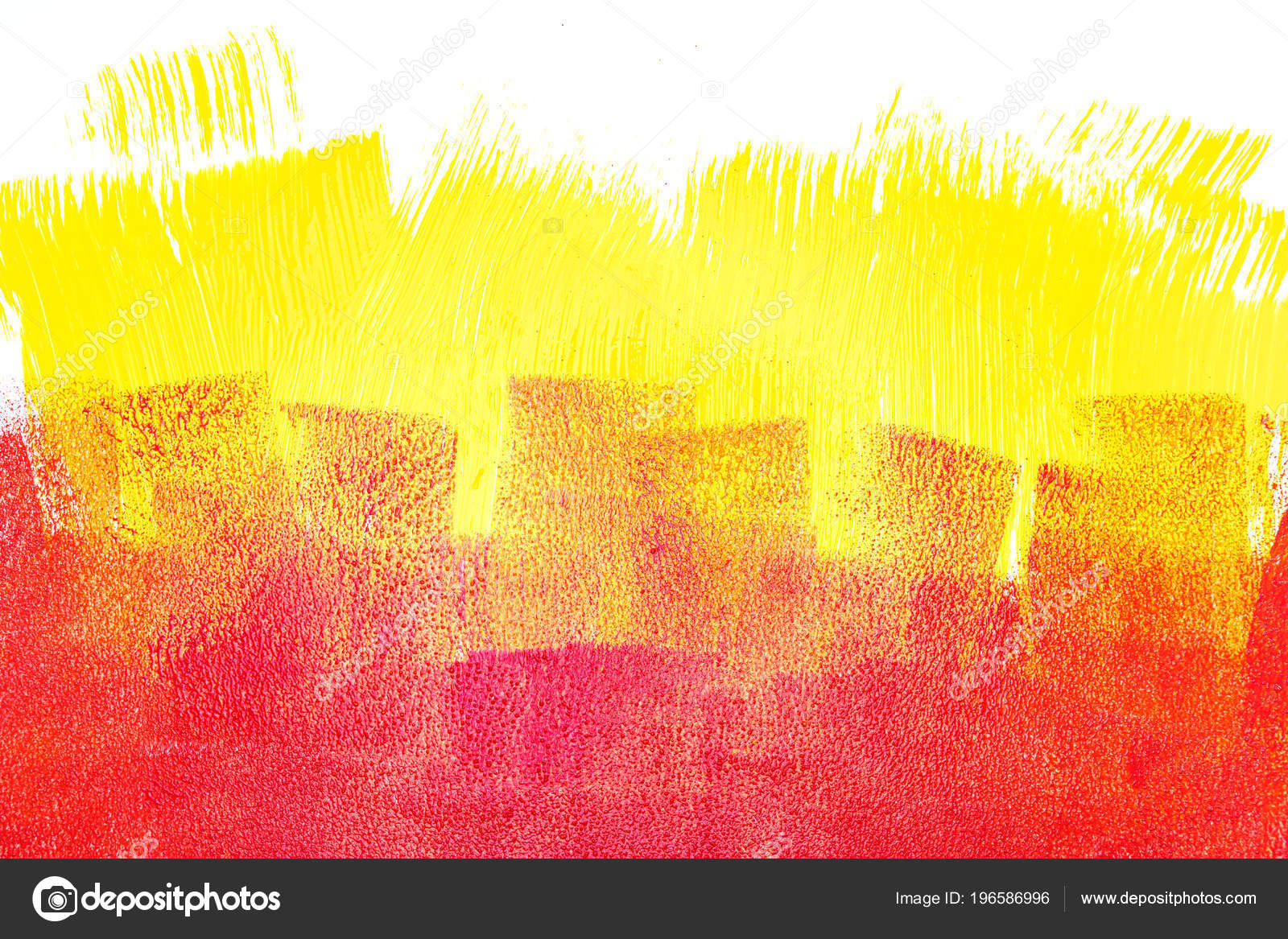 Hand Painted Wall Paint Roller Brush Strokes Yellow Red Colors