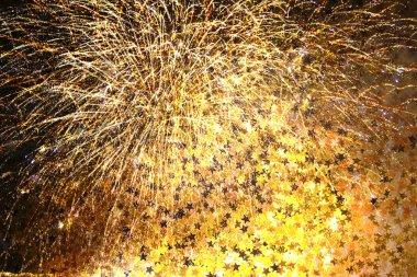 havai fişek ve yıldız konfeti ile çift pozlama Festival arka plan