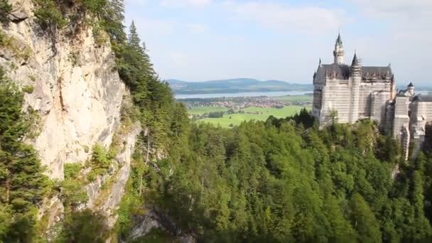 Blick auf Schloss Neuschwanstein. Schloss am Wiederaufbau.