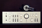 Photo Vintage Audio Stereo Amplifier with Headphones Front View