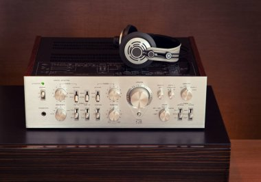 Vintage Audio Stereo Amplifier with Headphones Top View