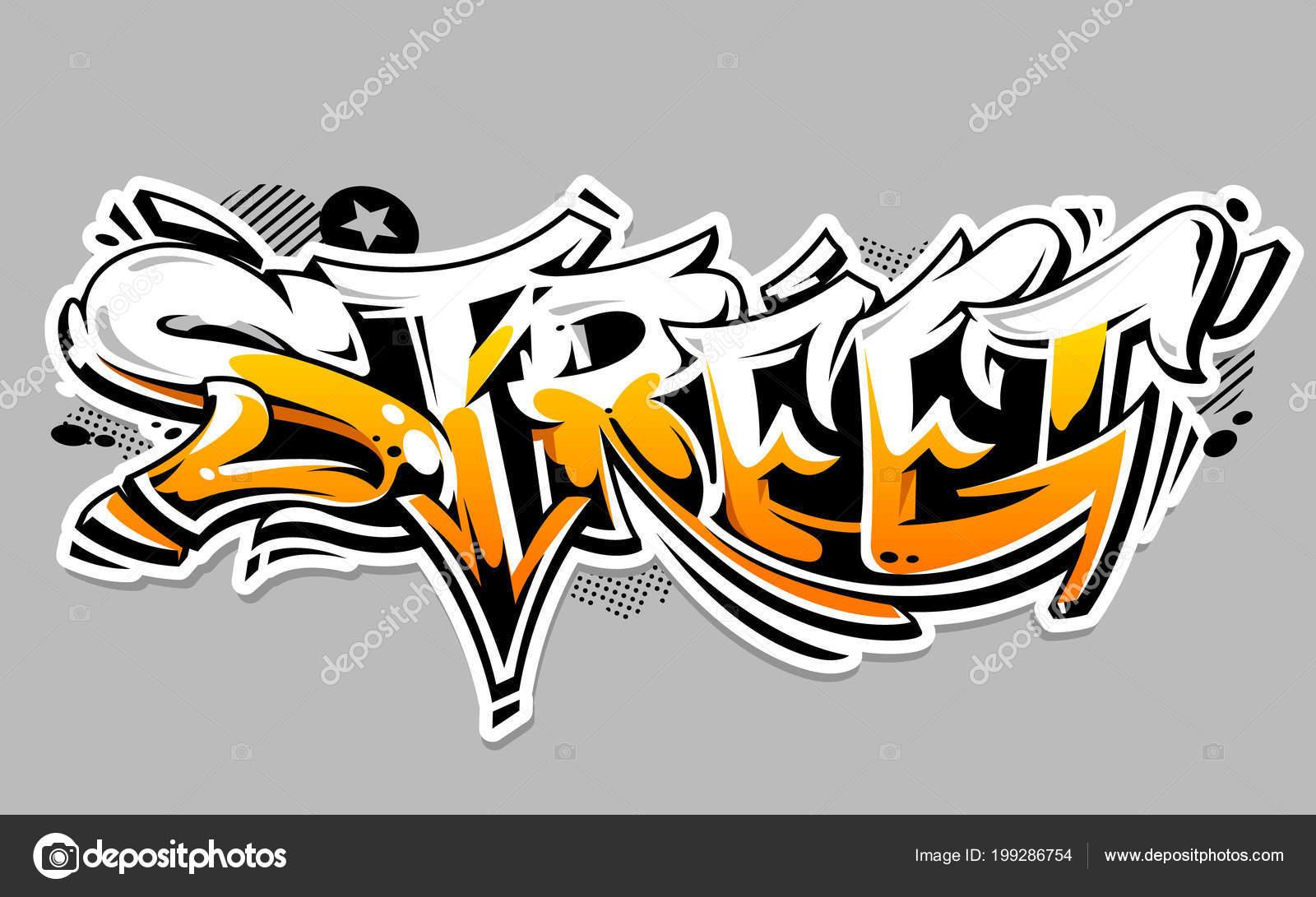 stra e graffiti vektor schriftzug isoliert auf weiss. Black Bedroom Furniture Sets. Home Design Ideas