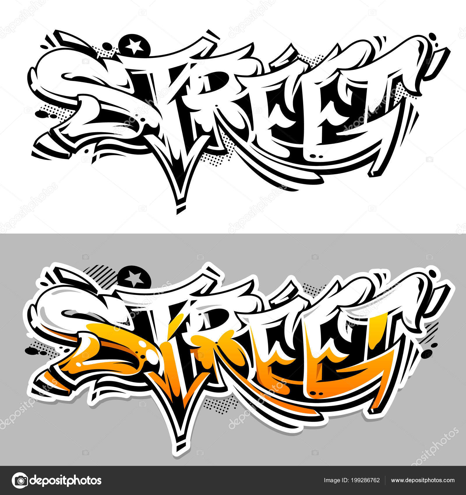 Street Graffiti Vector Lettering Abstract Three Dimensional Art Monochrome And Color Variations Wild Style
