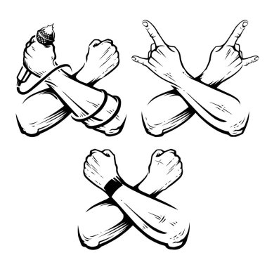 Crossed Hands Rock Vector Set. Hands for rock design isolated on white.