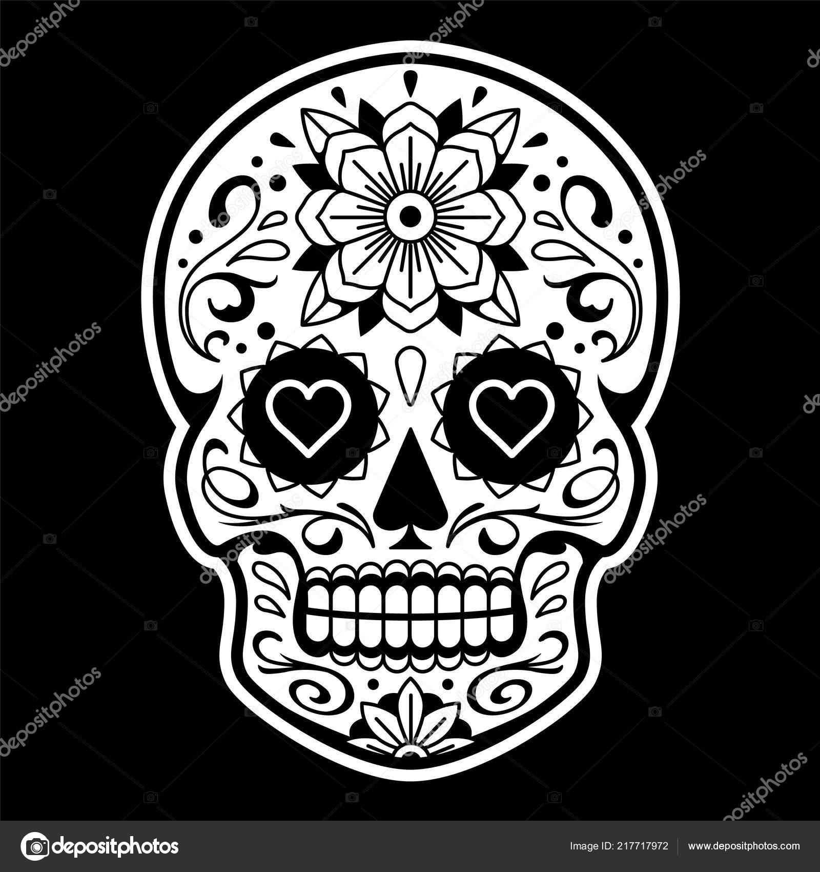 Vector Crâne Mexicain Avec Des Motifs Crâne Old School Tattoo