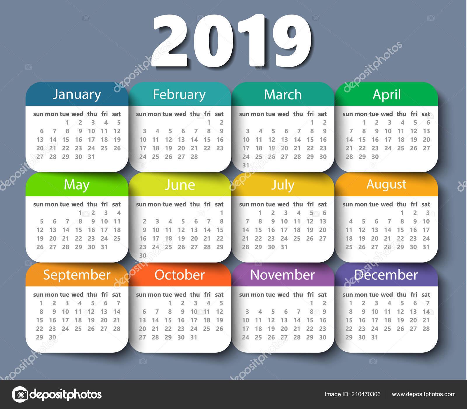 Calendario Settimane Anno 2019.Modello Di Disegno Vettore Anno 2019 Calendario Settimana A