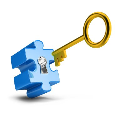Golden key opens blue puzzle. 3d image. White background. stock vector