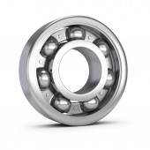 Steel ball bearing. 3d image. White background.