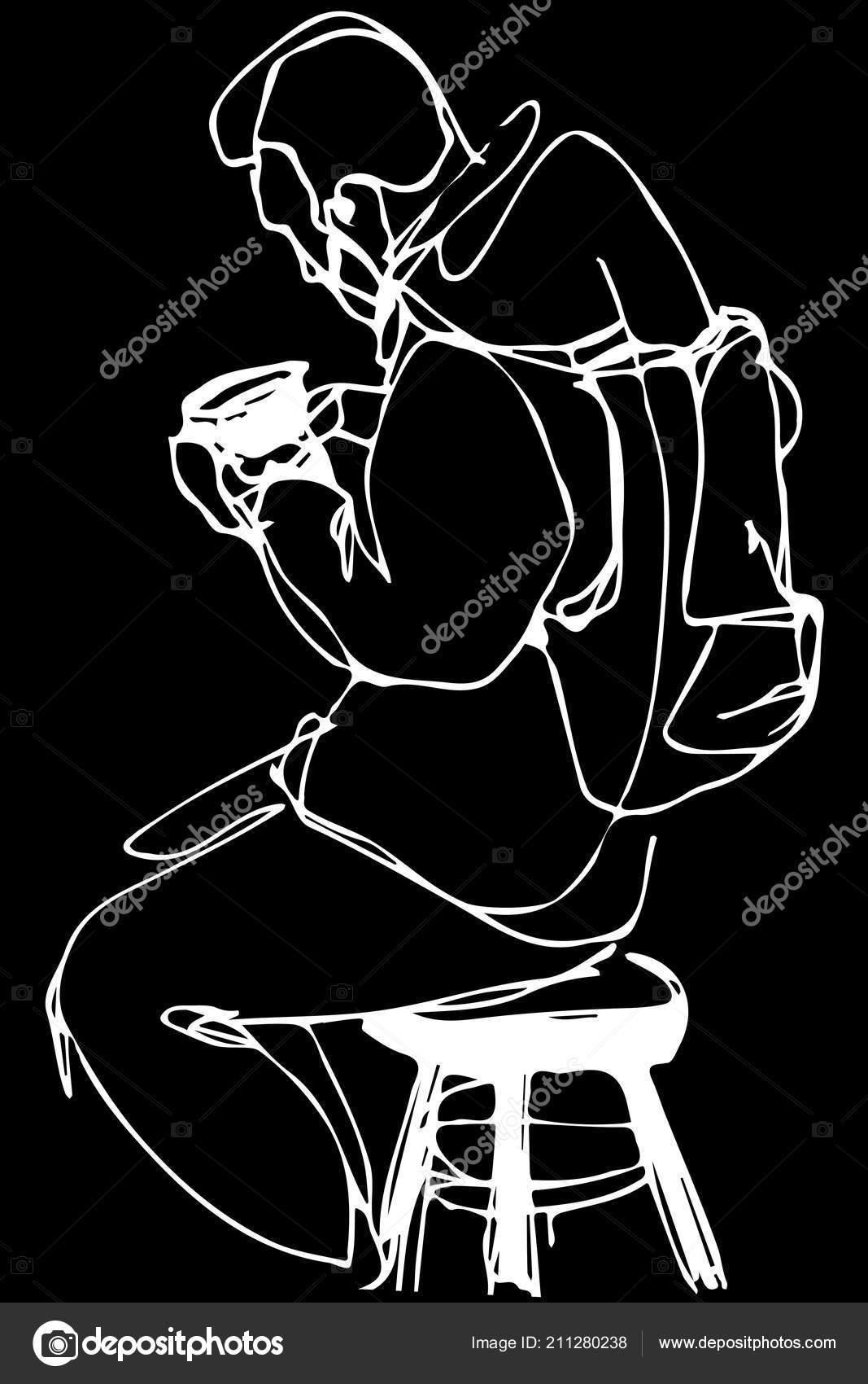 Brilliant Black White Vector Sketch Man Beard Stool Drinking Coffe Forskolin Free Trial Chair Design Images Forskolin Free Trialorg