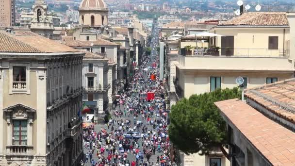 Vista aerea della strada centrale di Catania Via Etnea, Sicilia, Italia