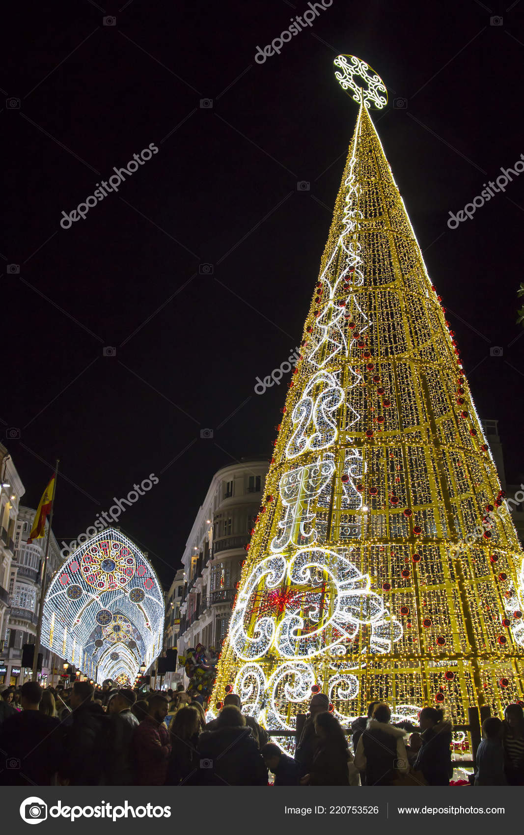 Malaga Spain December 2017 Christmas Tree Holiday Decorations Center Malaga — Stock Photo