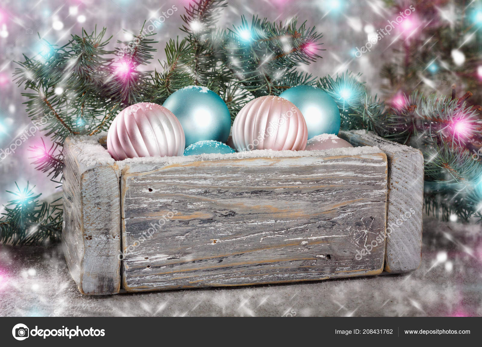 Old Wooden Vintage Box Beautiful Pink Blue Christmas Balls Background Stock Photo Image By C Loraliu 208431762