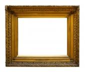 Fotografie Zlaté dřevěný fotorámeček pro design na bílém pozadí izolované