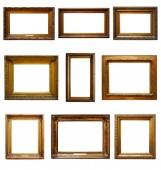 Set di tre telai in legno barocchi dorati dellannata su bianco