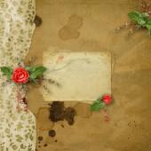 Slavnostní blahopřání s krásnou růží a fotorámeček pro pozvání nebo pozdravy