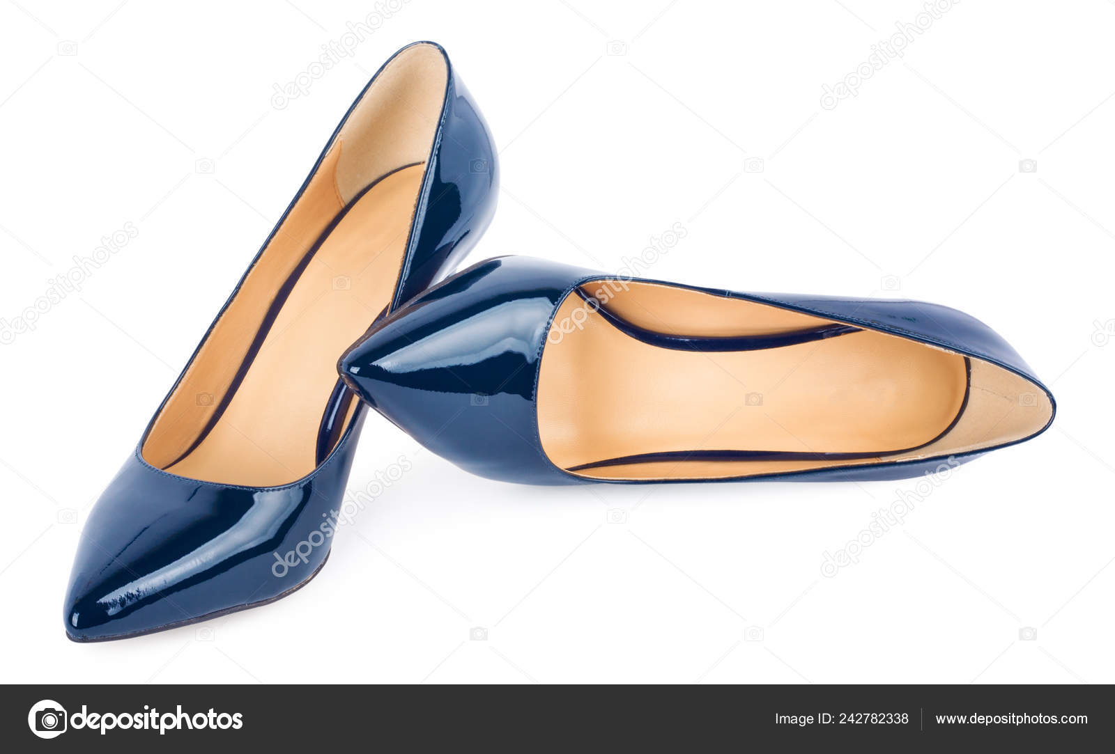 01c04ca7e8a Beautiful Blue Classic Women Shoes Isolated White Background — Stock ...