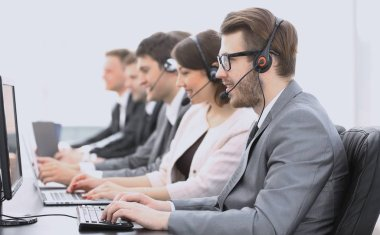 Colleagues call center during working hours stock vector