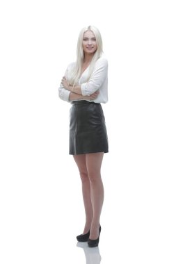 Modern smiling young business woman. Full-length portrait. photo with copy space stock vector