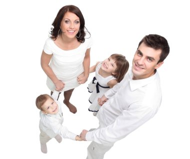 Portrait of happy young  family isolated on white