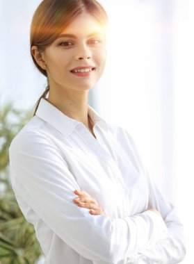 closeup portrait of young business lady