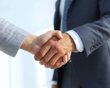 Excited smiling businessman handshaking partner at meeting,