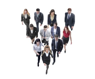 going business people behind the leader. isolated on white
