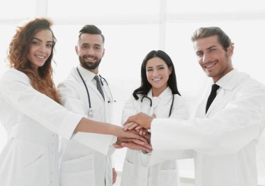 Background image of a group of doctors.the concept of teamwork stock vector