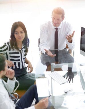 businessman rolls his meeting with the business team
