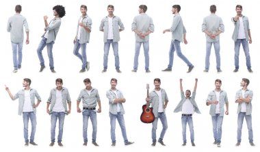 Collage of photos of a modern handsome guy.isolated on white background. stock vector