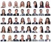 Fotografia collage di ritratti dei dipendenti successo isolati su bianco