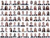 sikeres, fehér alapon elszigetelt alkalmazottak portréi