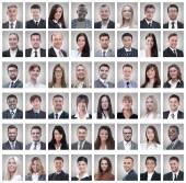 a sikeres alkalmazottcsoport elszigetelt fehér portrék