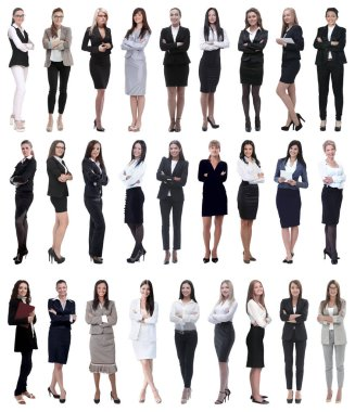 Collage of successful modern businesswoman. isolated on white background stock vector