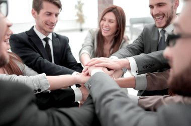 group of business people showing their unity.