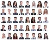 kollázs a sikeres alkalmazottak elszigetelt fehér portrék