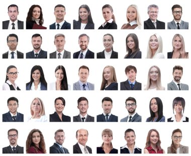Collage of portraits of successful employees isolated on white background stock vector